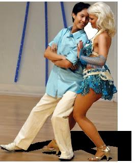 Samba dance couple in a samba routine