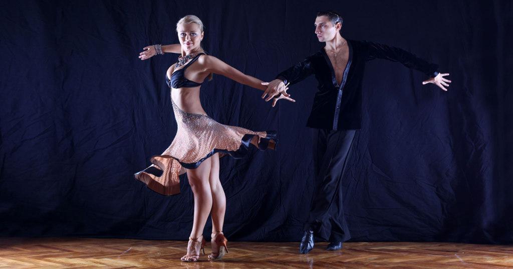 DanceSport Couple in navy & tan