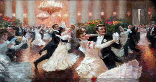 Viennese waltz dancing old fashioned painting
