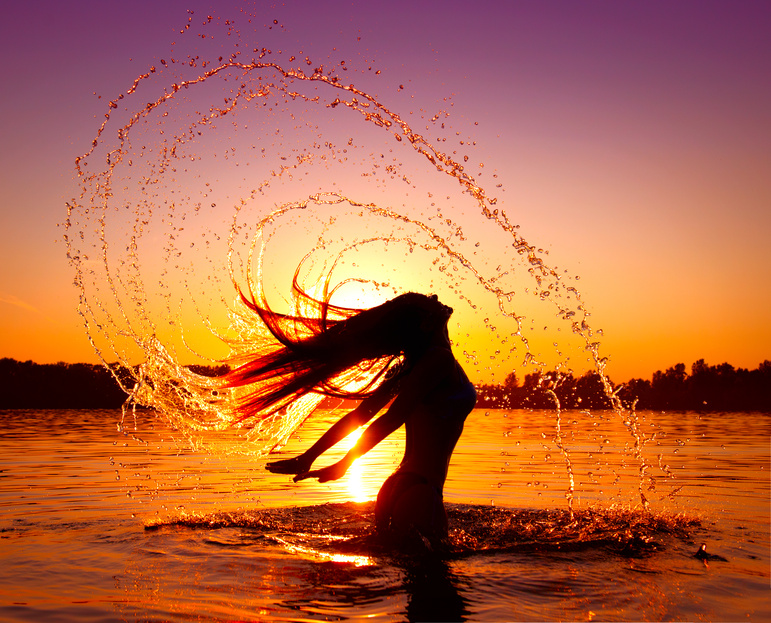 Dance San Diego sunset by ocean