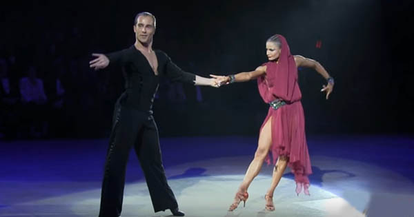 International Latin ballroom dancing couple