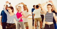 Students taking dance lessons